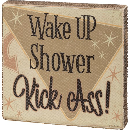"Block Sign - Wake Up Shower - 6"" x 6"" x 1"" - Wood, Paper"