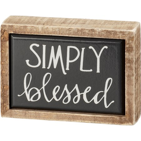 "Box Sign Mini - Simply Blessed - 3.50"" x 2.50"" x 1"" - Wood, Enamel"