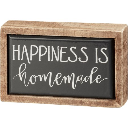 "Box Sign Mini - Happiness Is Homemade - 4"" x 2.50"" x 1"" - Wood, Enamel"
