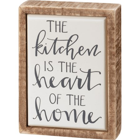 "Box Sign Mini - Kitchen Is The Heart Of The Home - 3"" x 4"" x 1"" - Wood, Enamel"
