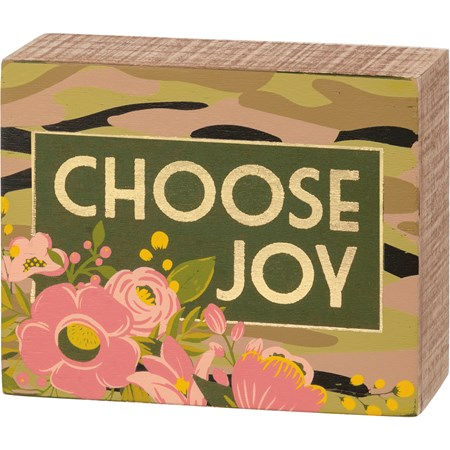 "Box Sign - Choose Joy - 5"" x 4"" x 1.75"" - Wood"