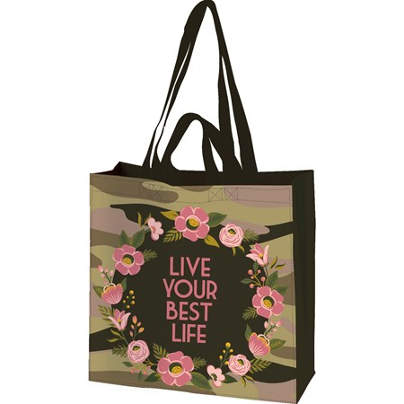 "Market Tote - Live Your Best Life - 15.50"" x 15.25"" x 6"" - Post-Consumer Material, Nylon"