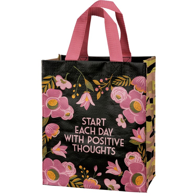 "Daily Tote - Start Each Day With Positive Thoughts - 8.75"" x 10.25"" x 4.75"" - Post-Consumer Material, Nylon"