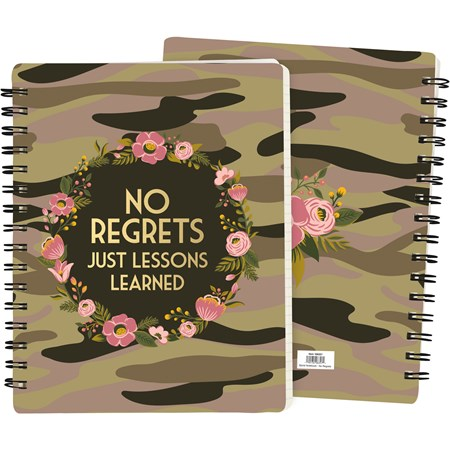 "Spiral Notebook - No Regrets Juse Lessons Learned - 7"" x 9"" x 0.50"" - Paper, Metal"