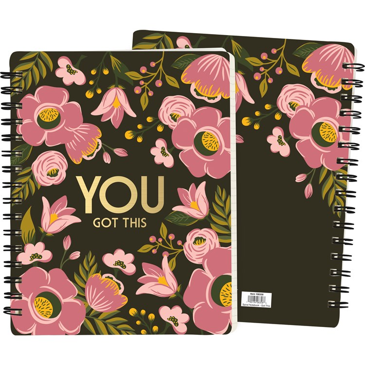 "Spiral Notebook - You Got This - 7"" x 9"" x 0.50"" - Paper, Metal"