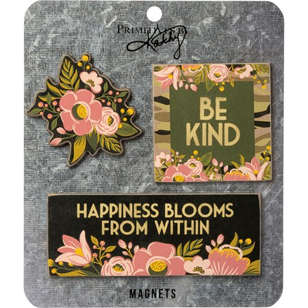"Magnet Set - Be Kind - 4.50"" x 1.75"", 2.50 x 2.50, Card: 5.50"" x 6.50"" - Wood, Paper, Metal, Magnet"