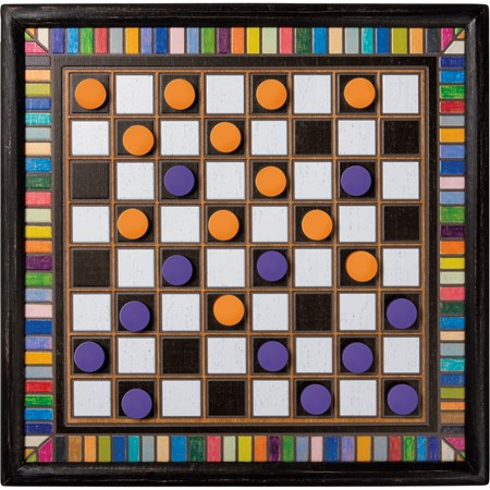 "Wall Game - Checkers - 16"" x 16"" x 1"" - Wood, Cotton"