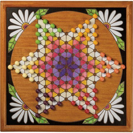 "Wall Game - Chinese Checkers - 16"" x 16"" x 1"" - Wood, Plastic, Cotton"