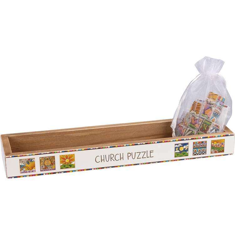 "Church Puzzle - Adventure  - Puzzle: 2.50"" x 2.50"" x 0.75"", Display Box: 11.25"" x 1.25"" x 3.25"" - Wood, Paper, Fabric, Metal"