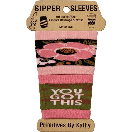 "Sipper Sleeves - You Got This - 3.25"" x 3"" - Cotton, Nylon, Spandex"