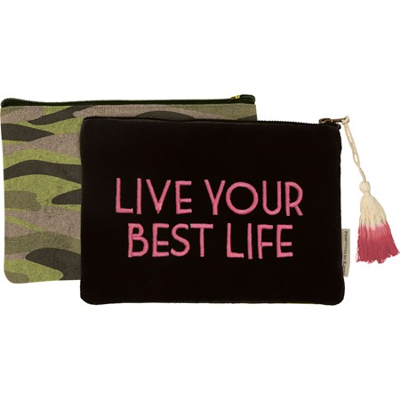 "Zipper Pouch - Live Your Best Life - 9.75"" x 6.50"" - Velvet, Canvas, Metal"