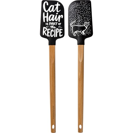 "Spatula - Cat Hair - 2.50"" x 13"" x 0.50"" - Silicone, Wood"