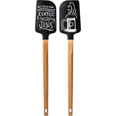 "Spatula - A Little Coffee - 2.50"" x 13"" x 0.50"" - Silicone, Wood"