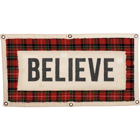 "Wall Banner - Believe - 40"" x 20"" - Canvas, Metal"