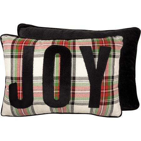 "Pillow - Joy - 20"" x 14"" - Cotton, Velvet, Zipper"