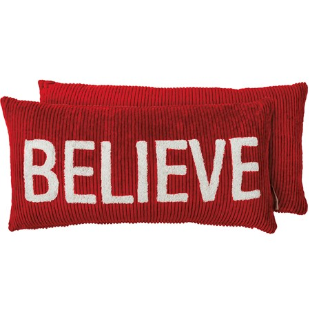 "Pillow - Believe - 20"" X 10"" - Corduroy, Zipper"
