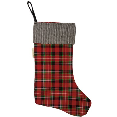 "Stocking - Red Plaid - 11"" x 18"" - Cotton"