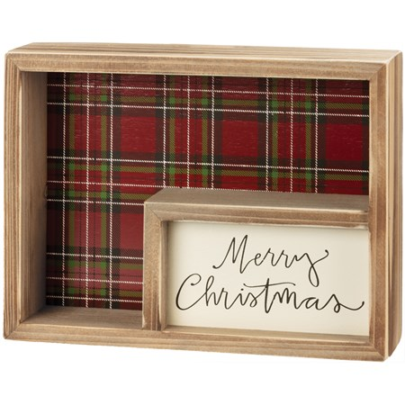 "Inset Box Sign - Merry Christmas - 8"" x 6"" x 1.75"" - Wood, Paper"