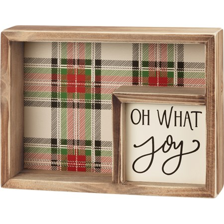 "Inset Box Sign - Oh What Joy - 8"" x 6"" x 1.75"" - Wood, Paper"