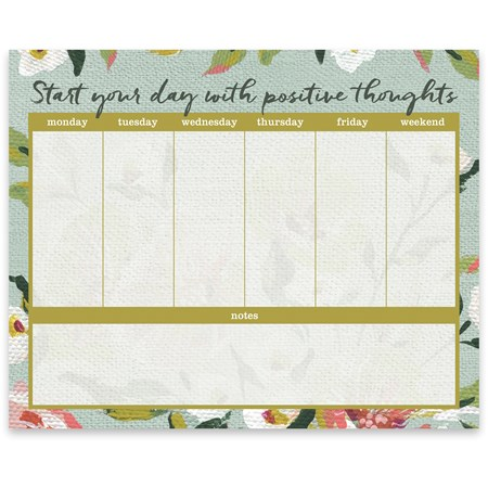 "Notepad - Start Your Day With Positive Thoughts - 9"" x 7.25"" x 0.25"" - Paper"