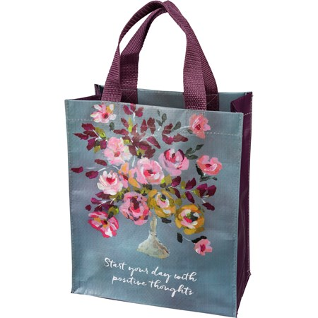 "Daily Tote - Start Your Day With Positive Thoughts - 8.75"" x 10.25"" x 4.75"" - Post-Consumer Material, Nylon"