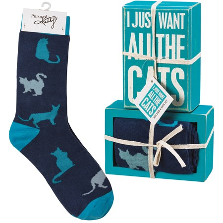 "Box Sign & Sock Set - I Just Want All The Cats - Box Sign: 4.50"" x 3"" x 1.75"", Socks: One Size Fits Most - Wood, Cotton, Nylon, Spandex, Ribbon"