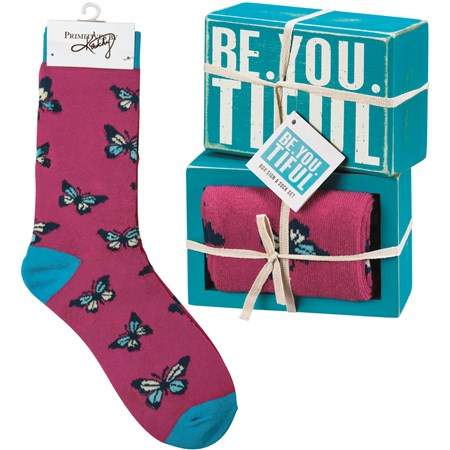 "Box Sign & Sock Set - Be You Tiful - Box Sign: 4.50"" x 3"" x 1.75"", Socks: One Size Fits Most - Wood, Cotton, Nylon, Spandex, Ribbon"