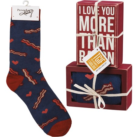 "Box Sign & Sock Set - I Love You More Than Bacon - Box Sign: 4.50"" x 3"" x 1.75"", Socks: One Size Fits Most - Wood, Cotton, Nylon, Spandex, Ribbon"
