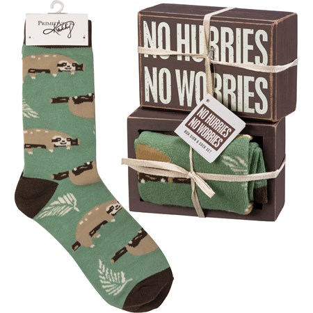 "Box Sign & Sock Set - No Hurries No Worries - Box Sign: 4.50"" x 3"" x 1.75"", Socks: One Size Fits Most - Wood, Cotton, Nylon, Spandex, Ribbon"