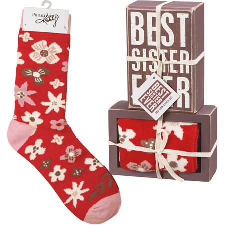 "Box Sign & Sock Set - Best Sister Ever - Box Sign: 4.50"" x 3"" x 1.75"", Socks: One Size Fits Most - Wood, Cotton, Nylon, Spandex, Ribbon"