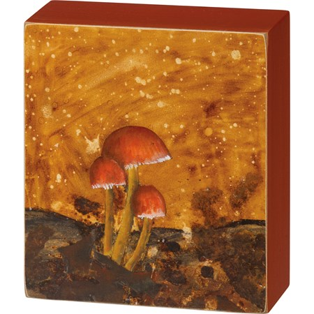 "Box Sign - Mushrooms - 4.50"" x 5.25"" x 1.75"" - Wood, Paper"