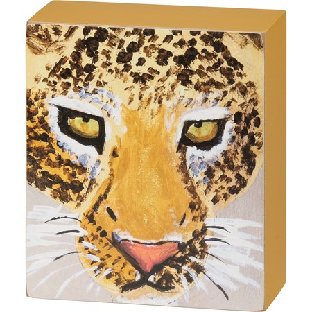 "Box Sign - Leopard - 4.50"" x 5.25"" x 1.75"" - Wood, Paper"