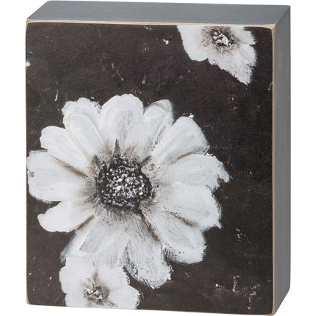 "Box Sign - Floral - 4.50"" x 5.25"" x 1.75"" - Wood, Paper"