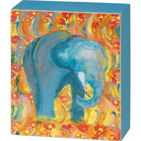 "Box Sign - Elephant - 4.50"" x 5.25"" x 1.75"" - Wood, Paper"