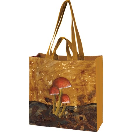 "Market Tote - Mushrooms - 15.50"" x 15.25"" x 6"" - Post-Consumer Material, Nylon"