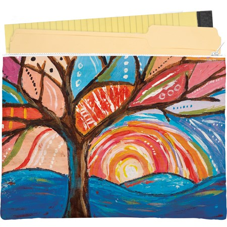 "Zipper Folder - Tree - 14.25"" x 10"" - Post-Consumer Material, Metal"