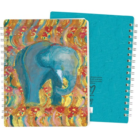 "Spiral Notebook - Elephant - 5.75"" x 7.50"" x 0.50"" - Paper, Metal"