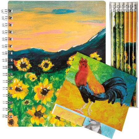 "Stationery Set - Farm - 5.75"" x 7.50"" x 0.50"", 4.50"" x 4.50"" x 0.25"", 1.75"" x 7.50"" x 0.25"" - Paper, Metal, Wood"