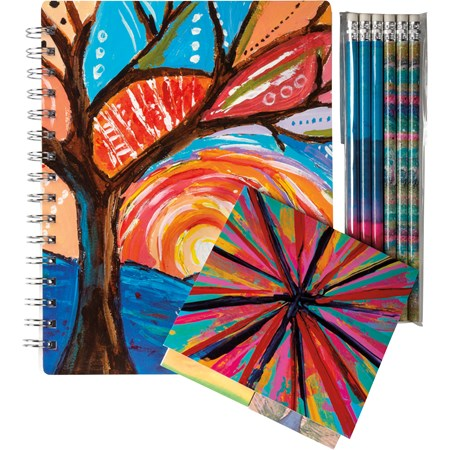 "Stationery Set - Rainbow - 5.75"" x 7.50"" x 0.50"", 4.50"" x 4.50"" x 0.25"", 1.75"" x 7.50"" x 0.25"" - Paper, Metal, Wood"
