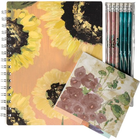 "Stationery Set - Botanical - 5.75"" x 7.50"" x 0.50"", 4.50"" x 4.50"" x 0.25"", 1.75"" x 7.50"" x 0.25"" - Paper, Metal, Wood"