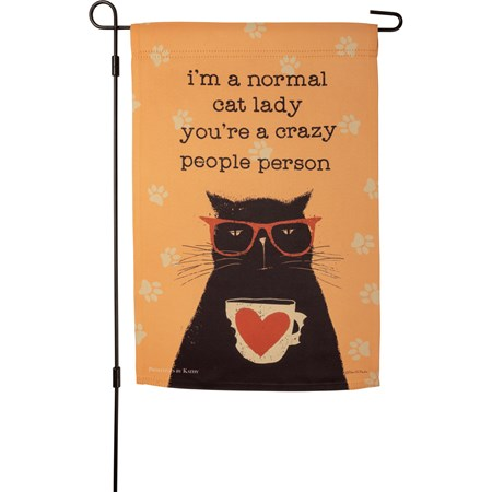 "Garden Flag - I'm A Normal Cat Lady - 12"" x 18"" - Polyester"