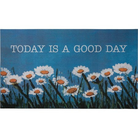 "Rug - Today Is A Good Day - 34"" x 20"" - Cotton, PVC"