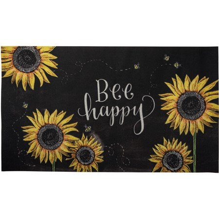 "Rug - Bee Happy - 34"" x 20"" - Cotton, PVC"