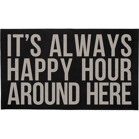 "Rug - It's Always Happy Hour Around Here - 34"" x 20"" - Cotton, PVC"