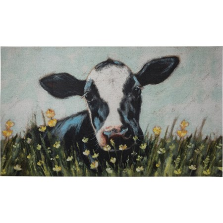 "Rug - Cow - 34"" x 20"" - Cotton, PVC"