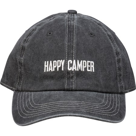 Baseball Cap - Happy Camper - One Size Fits Most - Cotton, Metal