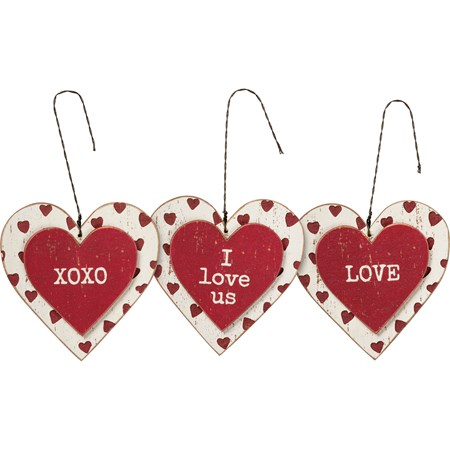 "Ornament Set - Love - 3"" x 3"" x 0.25"" - Wood, Wire"