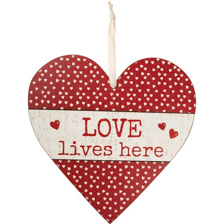 "Wall Decor - Love Lives Here - 13.75"" x 13.75"" x 0.25"" - Wood, Fabric"