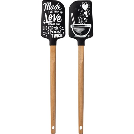 "Spatula - Love Means - 2.50"" x 13"" x 0.50"" - Silicone, Wood"