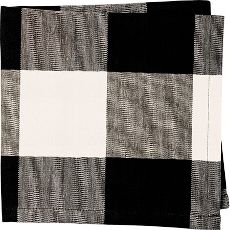 "Napkin - Black Buff Check - 15"" x 15"" - Cotton"